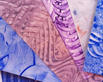 Hand decorated paste paper for all creative uses. Blue and Purple. Ref# 1706