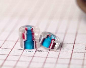 5 Red with Dark Aqua / White 11x4mm Furnace Disc Glass Beads (SB103)