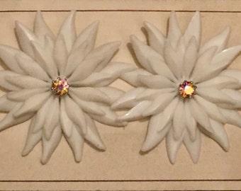 Vintage Deadstock Large White Petal Burst with AB Rhinestone Clip On Earrings