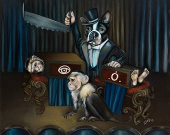 "Limited Edition 14""x11"" Surreal Fine Art Paper Print -- 'Halve' (Boston Terrier, Monkeys, Magician, Magic Trick)"