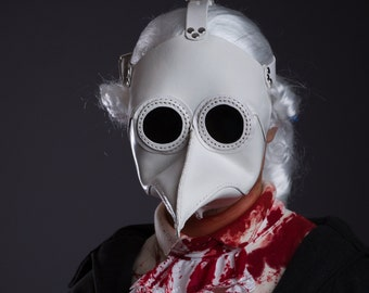 Plague Doctor Mask White Leather (glasses friendly) - Plague Doctor's Costume