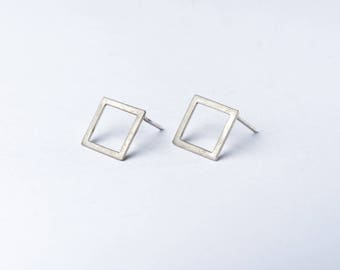 Sterling silver minimal earrings - geometric earrings - square stud earrings !