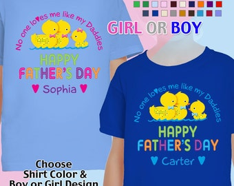 Happy Father's Day T-Shirt - No One Loves me Like my Daddies - Girls/Boys Youth - Personalized with Name (Gay / Lesbian / 2 Daddies)