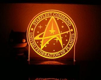 Star Trek Starfleet Command United Federation of Planets Acrylic LED light sign, led display sign, led night light, LED sign, LED lamp