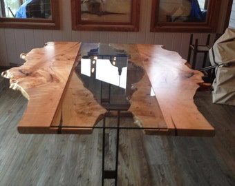 Live Edge Table Reversed Live Edge Harvest Table Live edge Boardroom Table Conference Table Reclaimed Wood Table