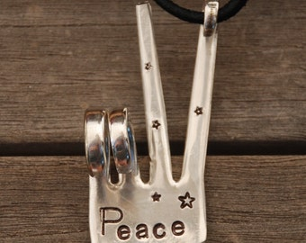 Ornament Peace Sign with LEATHER made from Vintage Fork ~ Hand Stamped with STARS // ready to give