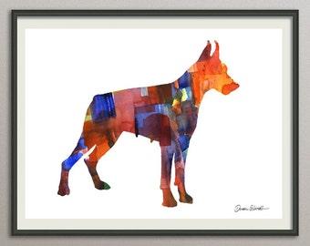 dobermann art print watercolor print  silhouette painting print poster wall art decor drawing, dog painting print