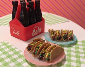 Miniature Taco (playscale 1:6 scale diorama play doll mini) Mexican Food Tacos