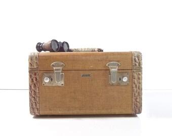 Vintage Tweed Train Case / 1930s Yellow Tweed Suitcase / Vintage Luggage