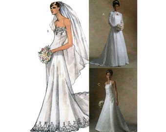 Wedding Dress and Lace Shrug, Bridal Elegance Sewing Pattern Misses Size 12-14-16-18 Bust 34-36-38-40 UNCUT McCall's M4776