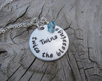 "Mother of Twins Necklace, Gift for Expectant Mother, New Mother, ""Twins- twice the blessings"" with an accent bead in your choice of colors"