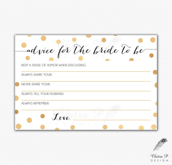 Wedding Advice: Gold Black Bridal Advice Card Printed Or Printable Instant