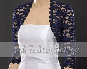 Navy blue 3/4 sleeved lace bolero jacket shrug Size S-XL, 2XL-5XL