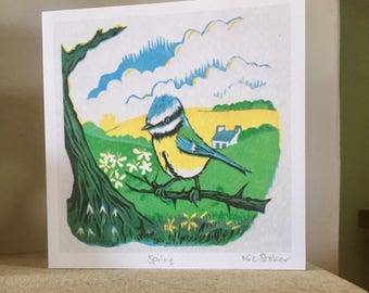 Spring - artist card from original linocut print