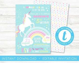 EDIT YOURSELF, Unicorn Birthday Invitation, Rainbow Invitation, Magical Invitation, Rainbow Birthday Invite Printable Unicorn Party Templett