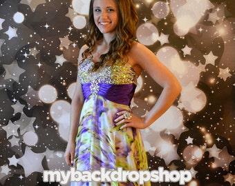 6ft x 5ft Black Bokeh Photography Backdrop - Stars and Glittering Lights Photography Backdrop - Sparkle Backdrop - Item 1631