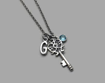 Key Charm Necklace, Key Necklace, Skeleton Key, Key Jewelry, Initial Necklace, Birthstone Necklace, Personalized Charm Necklace