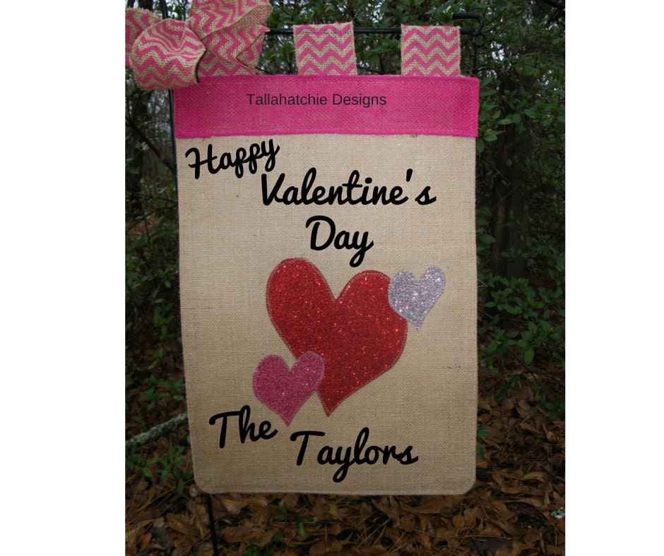 Valentineu0027s Day Garden Flag Burlap Heart, ...