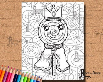INSTANT DOWNLOAD Lollypop King Coloring Print, doodle art, printable
