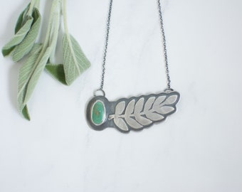 Royston Fern Necklace // Sterling Silver Hand-Sawn Fern Detail // 18 inch Necklace
