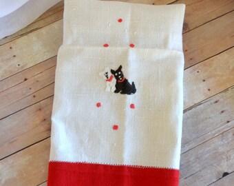 Vintage kitchen towel, tea towel, hand made, embroidered, scottish terrier, scottie dog, scotty dog, dog mom, gift, retro, kitchenalia, cute