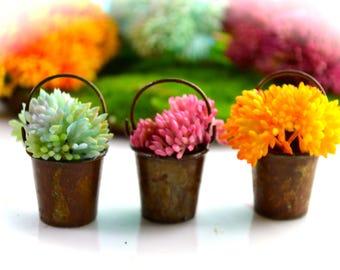 "Miniature Flowers in Antique Bucket ~ Terrarium Accessory ~ Flower Market Flowers ~ 2"" Bucket  ~ Fairy Garden Supplies ~ Tiny Flower Bucket"