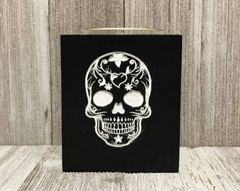 Dia de Los Muertos Sugar Skull candle holder. Day of the Dead Sugar Skull candle holder