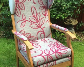Vintage High Wing Back Fire side Lounge Arm Chair In Pink,Grey Velvet Fabric With Solid Wooden Legs & Frame
