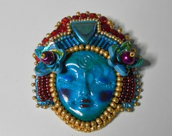 Bead Embroidered Polymer clay turquoise Goddess Face Brooch