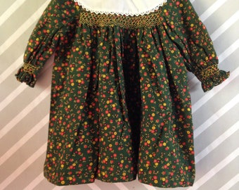 vintage floral smocked boho prairie polly flinders dress size 3-4 years green red yellow