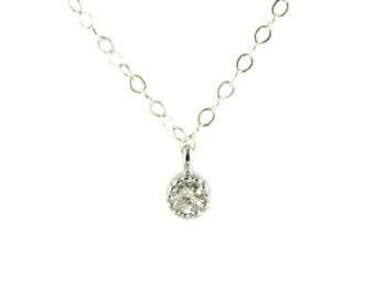 Tiny CZ Silver Necklace, Dainty Silver Necklace, Silver Layering Necklace, Diamond Necklace, Simple Silver Necklace, Sterling Silver