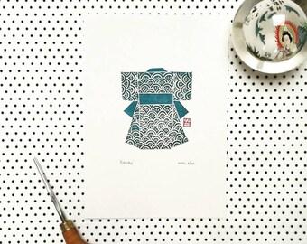 Hand printed Kimono linocut print