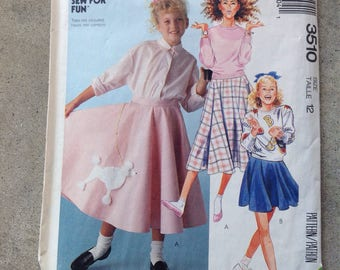 Vintage Girl's Poodle Skirt McCall's 3510 - size 12