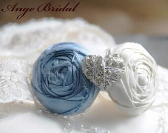SILK Baby Blue Garter with Heart rhinestone/Something Blue/ Wedding Garter/ Garter Set/ Bridal Garter/Vintage Wedding Garter