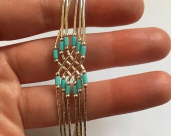 Sterling Silver Vintage Tribal Blue Multi Strand Bracelet