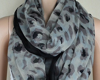Gray cotton scarf, leopard print scarf, infinite loop infinity scarf, collar