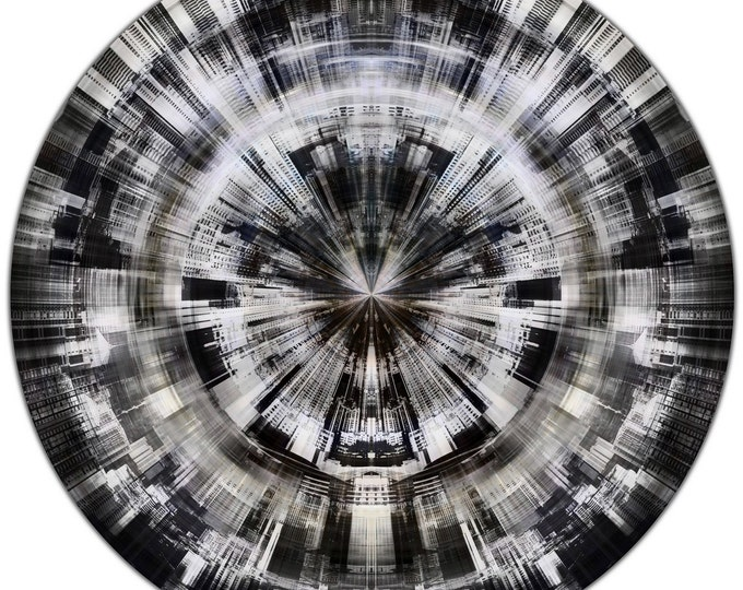 HK FRAGMENTS IV (Ø 100 cm) by Sven Pfrommer - Round artwork is ready to hang