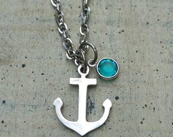 Anchor custom Personalized birthstone pendant necklace Nautical beach jewelry / personalized anchor necklace / Anchor beach necklace
