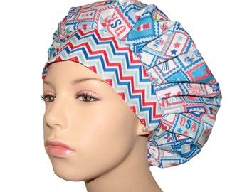 4th Of July Star Spangled Stamps-ScrubHeads-Bouffant Scrub Hat-Patriotic Scrub Hat-Holiday Scrub Hat-Scrub Cap-Surgical Scrub Cap