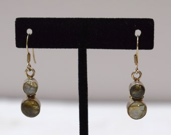 Earrings Sterling Silver Labradorite Double Round Stone 38mm