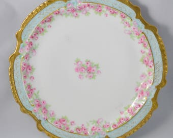 Antique Limoges Porcelain Cabinet Plate Hand Painted Pink Roses Coronet Freres French Porcelain Gold Decorated 1900s Cottage Decor