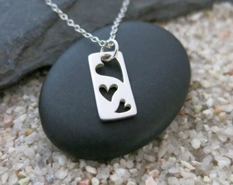 Three Heart Necklace, Sterling Silver Three Hearts Charm, Love Jewelry
