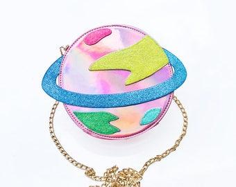 Pastel Rainbow Saturn Purse -Cross Body Purse - Alien Purse - Saturn Purse - Kawaii Bag - Pastel Goth Clothing - Harajuku Bag - Planet Purse