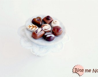 Mini Food Variety of Truffles Ring, Mini Chocolates, Miniature Sweets, Polymer Clay Sweets, Mini Food Jewelry, Kawaii Jewelry