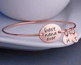 Rose Gold Best Nana Ever Bracelet, Custom Mother's Day Gift for Nana, Rose Gold Nana Jewelry, Rose Gold Bangle Bracelet