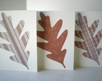 Oak Leaf 3-Card Set Handmade Autumn Fall Woodland Forest Earth Tones Natural Colors