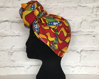 Red and yellow headwrap, African print head scarf, African head wrap,  ankara headwrap, colourful headwrap, UK free shipping
