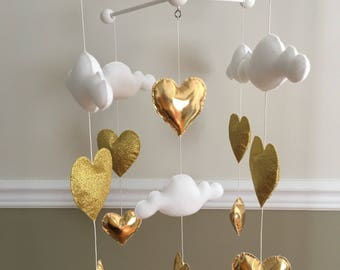 Baby mobile - baby girl mobile - Cot mobile - Heart mobile - Cloud mobile  - Clouds and hearts