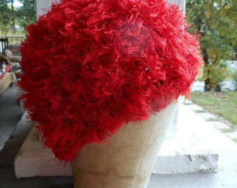 Handmade Crochet Candy Apple Red Beanie Hat. Frilly Red Crocheted Yarn