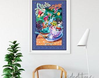 Disneyland Poster, Vintage Alice in Wonderland Tea Party Tea Cups Attraction Poster, Nursery Art Print, Home Decor, Wall Art, B2G1 Free